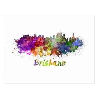 Brisbane skyline in watercolor splatters postcard