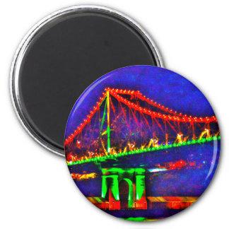 BRISBANE STOREY BRIDGE AUSTRALIA ART EFFECTS 6 CM ROUND MAGNET
