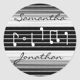 Bristles Musical Notes Personalized Classic Round Sticker