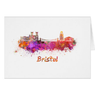 Bristol skyline in watercolor card