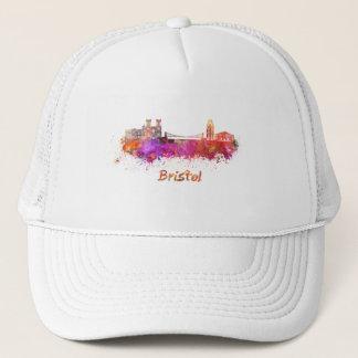 Bristol skyline in watercolor trucker hat