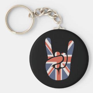 Brit Rock Hand Basic Round Button Key Ring