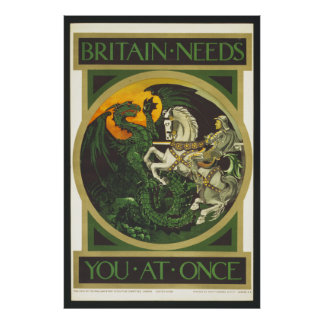 Britain Needs You At Once Dragon vs Knight Poster