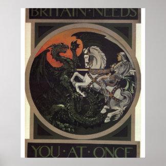 Britain needs you at once_Propaganda Poster
