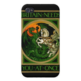 Britain needs you at once, WWI British War Poster iPhone 4 Cover
