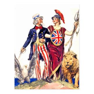 Britannia and Uncle Sam Post Card