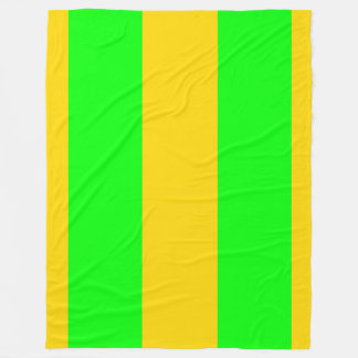 Brite Green and Yellow-Gold Vertically-Striped Fleece Blanket