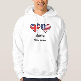 British American Flag Hearts Hoodie