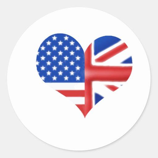 British American Heart Stickers