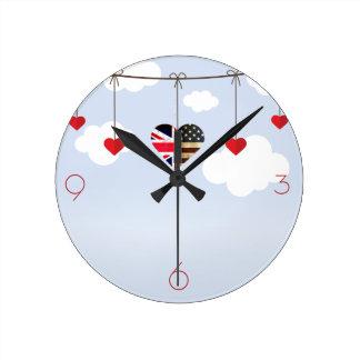 British American Love Hearts Round Clock