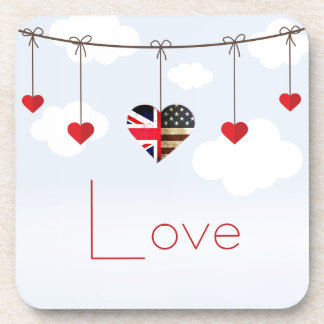 British American Love Hearts royal wedding Coaster