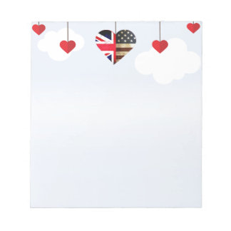 British American Love Hearts royal wedding Notepad