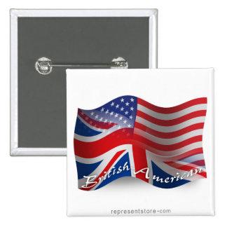 British-American Waving Flag 15 Cm Square Badge