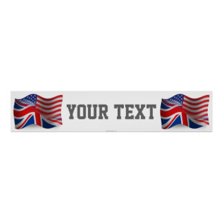 British-American Waving Flag Banner Poster