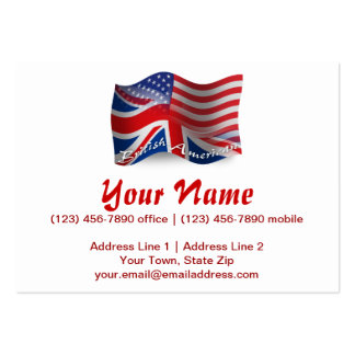 British-American Waving Flag Pack Of Chubby Business Cards
