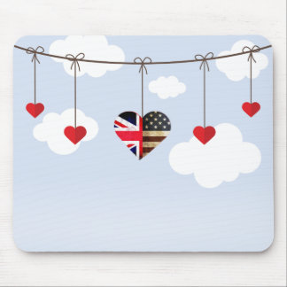 British and American flag royal wedding hearts Mouse Pad