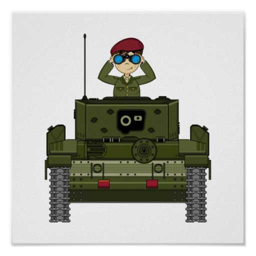 British Army Soldier in Tank Poster