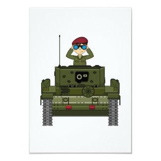 British Army Soldier in Tank RSVP Card 9 Cm X 13 Cm Invitation Card