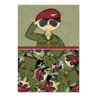British Army Soldier RSVP Card 9 Cm X 13 Cm Invitation Card