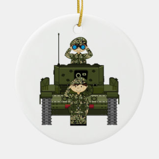 British Army Soldiers and Tank Ornament