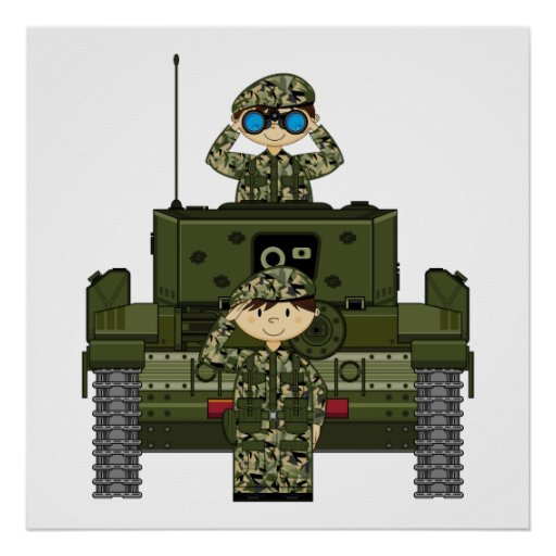British Army Soldiers and Tank Print