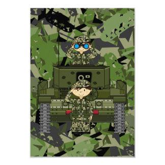 British Army Soldiers and Tank RSVP Card 9 Cm X 13 Cm Invitation Card