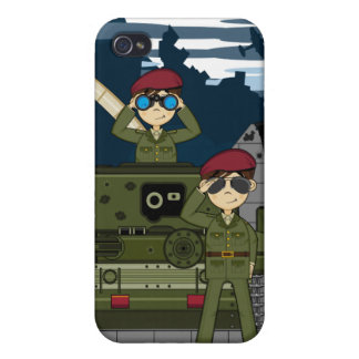 British Army Soldiers and Tank Scene iphone Case Covers For iPhone 4