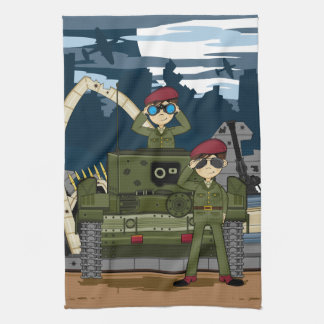 British Army Soldiers and Tank Scene Towel