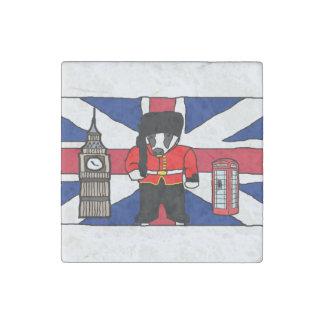 British Badger Big Ben Phone Booth Cartoon Stone Magnet