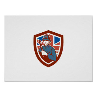 British Bobby Policeman Truncheon Flag Shield Retr Poster