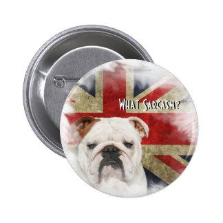 British Bulldog against a Distressed Union Jack 6 Cm Round Badge