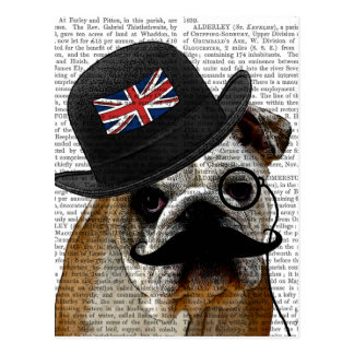 British Bulldog and Bowler Hat Postcard