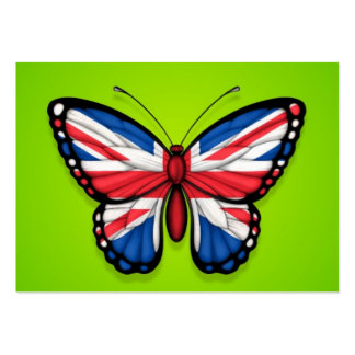British Butterfly Flag on Green Business Card