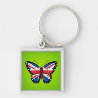 British Butterfly Flag on Green Key Chain
