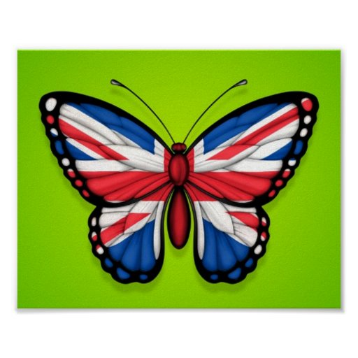 British Butterfly Flag on Green Posters