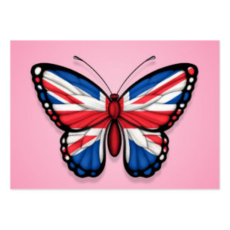 British Butterfly Flag on Pink Business Card