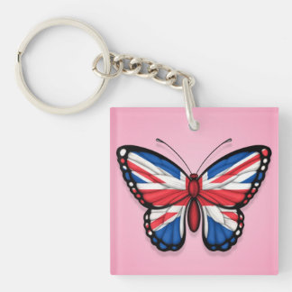 British Butterfly Flag on Pink Double-Sided Square Acrylic Key Ring
