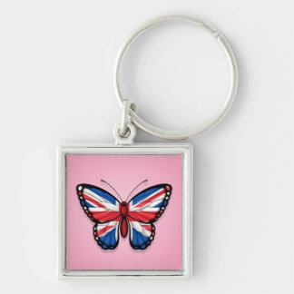 British Butterfly Flag on Pink Keychains