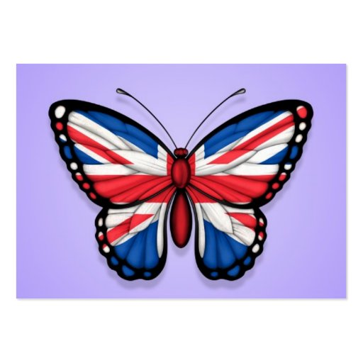 British Butterfly Flag on Purple Business Cards