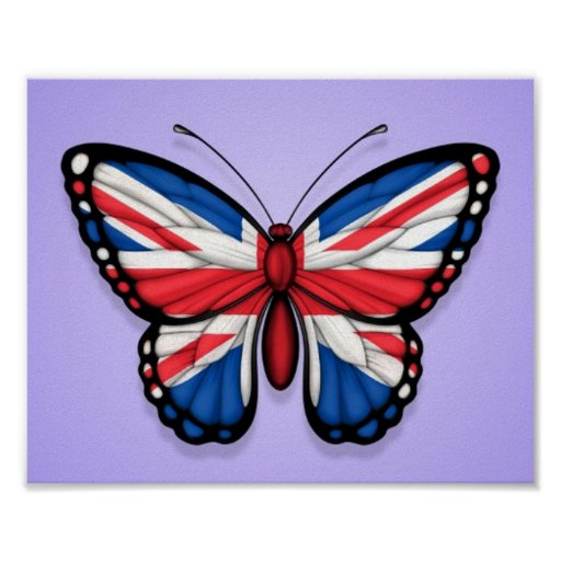 British Butterfly Flag on Purple Poster