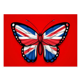 British Butterfly Flag on Red Business Cards