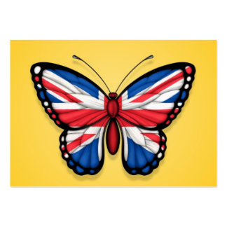 British Butterfly Flag on Yellow Business Card Templates