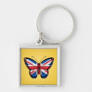 British Butterfly Flag on Yellow Key Chains