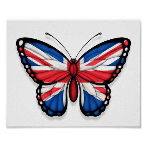 British Butterfly Flag Print