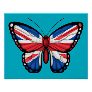 British Butterfly Flag Poster