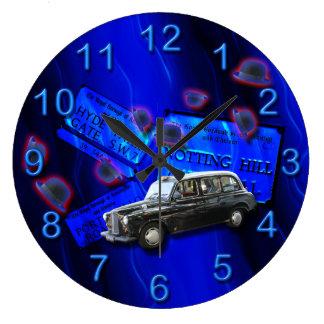 British cab London icons blue Wallclock