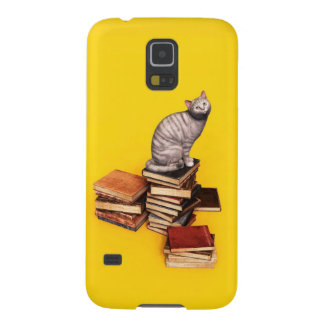 British Cat on a stack of books Cases For Galaxy S5