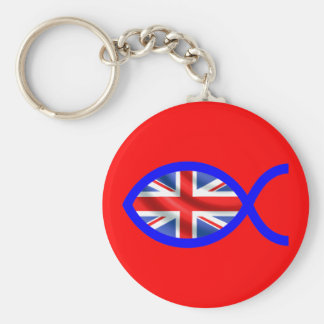 British Christian Fish Symbol Flag Keychain