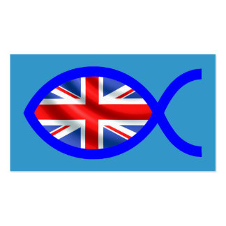 British Christian Fish Symbol Flag Tract Card / Pack Of Standard Business Cards