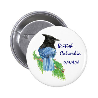 British Columbia Canada Watercolor Stellar Jay 6 Cm Round Badge